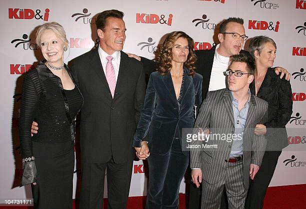 Penelope Spheeris director Arnold Schwarzenegger Maria Shriver Tom Arnold Eric Gores and Jamie Lee Curtis
