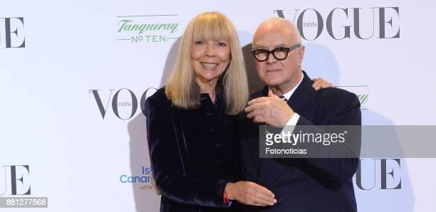 Penelope Tree and Manolo Blahnik attend the 'Manolo Blahnik El Arte Del Zapato' exhibition at the Ritz Hotel on November 28 2017 in Madrid Spain