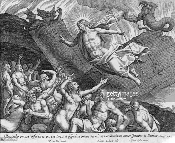 'Penetrabo omnes inferiores partes terrae et inspiciam omnes dormientes et illuminabo omnes sperantes in Domino' Engraving from the biblical book of...