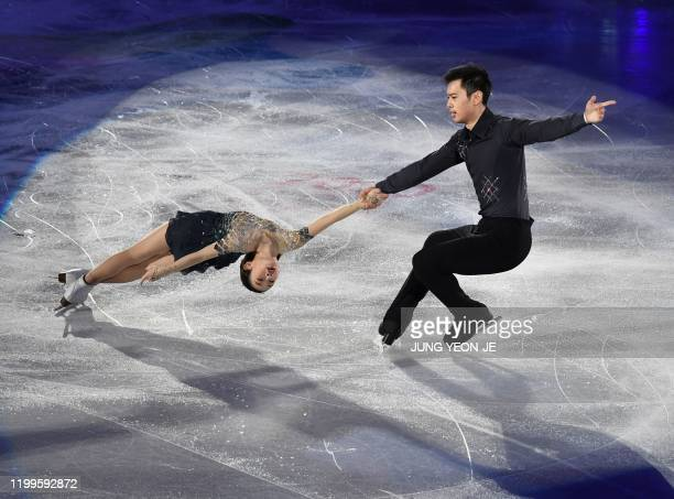 Peng Cheng and Jin Yang of China perform during the exhibition gala at the ISU Four Continents Figure Skating Championships in Seoul on February 9...