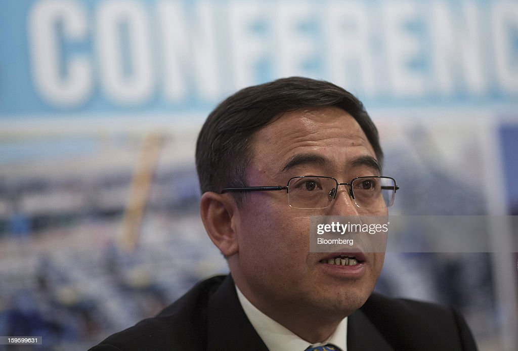 Peng Huaisheng, chief executive officer of Chinalco Mining Corp. International, speaks during the company's initial public offering news conference in Hong Kong, China, on Thursday, Jan. 17, 2013. Chinalco Mining, a unit of China's biggest aluminum producer, plans to raise as much as $435 million in an initial public offering in Hong Kong to fund its copper project in Peru. Photographer: Jerome Favre/Bloomberg via Getty Images