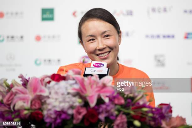 Peng Shuai of China attends a press conference on day three of the 2017 China Open on October 2 2017 in Beijing China