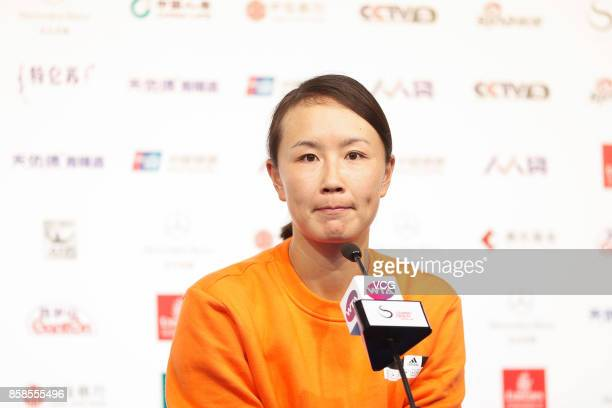 Peng Shuai of China attends the press conference after the Women's doubles semifinals match on day eight of 2017 China Open at the China National...