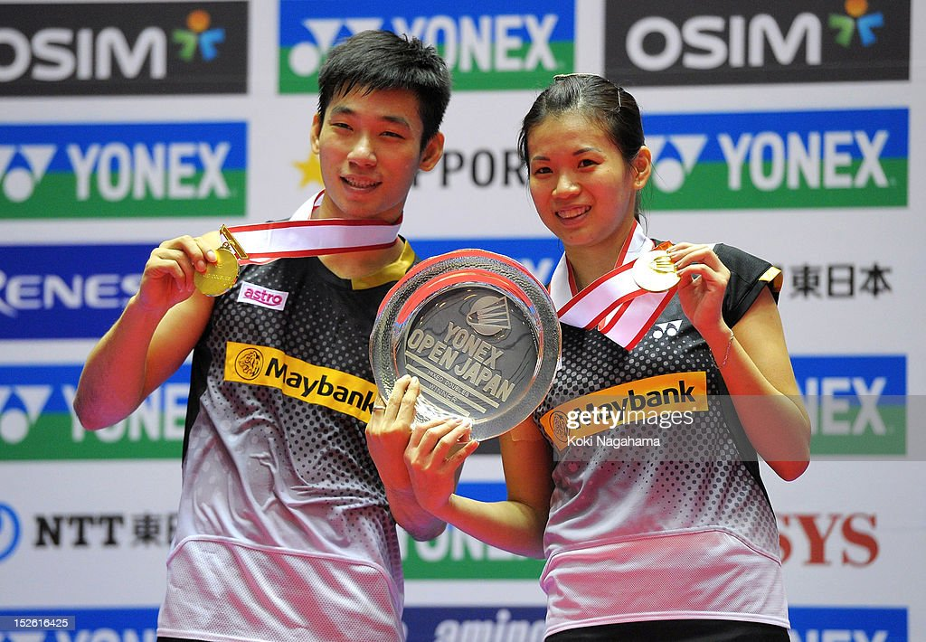 Peng Soon Chan and Liu Ying Goh of Malaysia pose on the podium after winning the meixed doubles final match against Muhammad Rijal and Liliyana Natsir of Indonesia during day five of the Yonex Open Japan 2012 at Yoyogi Gymnasium on September 23, 2012 in Tokyo, Japan.