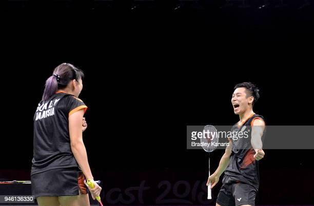Peng Soon Chan and Liu Ying Got of Malaysia celebrate victory in the Mixed Doubles Bronze Medal match against Satwik Rankireddy and Ashwini Ponnappa...