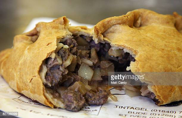 Pengenna Pasties version of a Cornish pasty is opened after being cooked in their bakery in Bude on September 9 2008 in Cornwall England The EU is...
