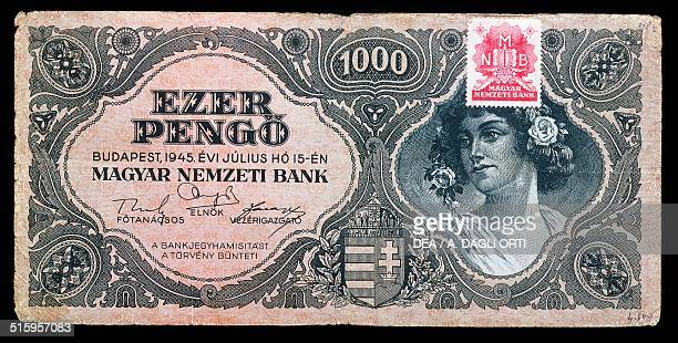1000 pengo banknote with validation stamp obverse female face Hungary 20th century