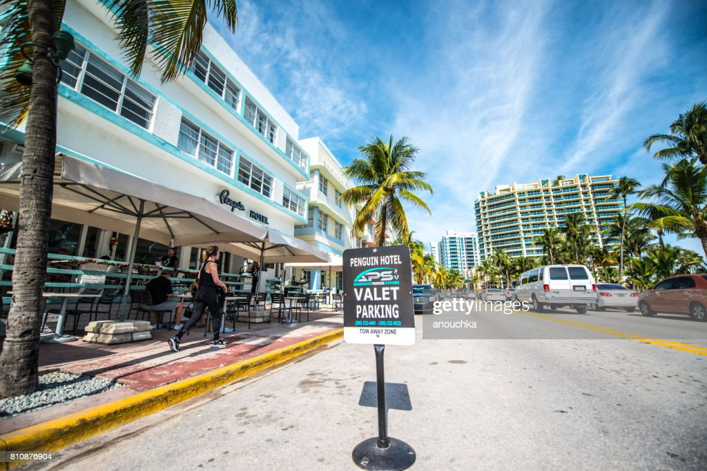 Penguin Hotel With Valet Parking Sign On Ocean Drive Miami Beach