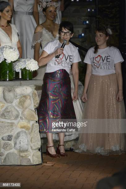 Penha Maia And Mariana Fernandes walk at Po de Arroz Runway at New York Fashion Week Bridal October 2017 at Hendrick's Tavern on October 5 2017 in...