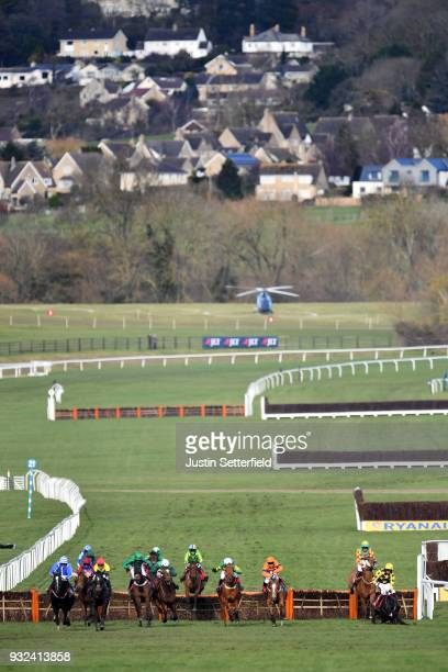 Penhill ridden by Paul Townend jumps the last fence ahead of Supasundae ridden by Robbie Power on their way to victory in the Sun Bets StayersÕ...