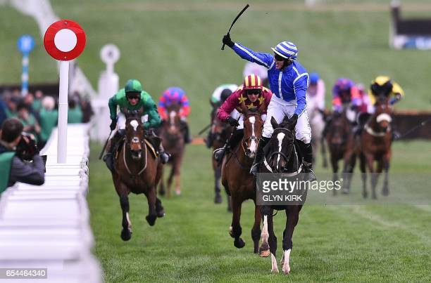 'Penhill' ridden by Paul Townend wins The Albert Bartlett Novices' Hurdle Race on the fourth day of the Cheltenham Festival horse racing meeting at...