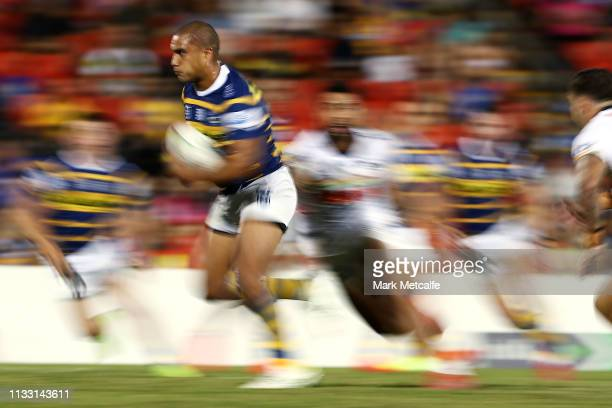 Peni Terepo of the Eels makes a break during the NRL Trial match between the Penrith Panthers and the Parramatta Eels at Panthers Stadium on March 02...