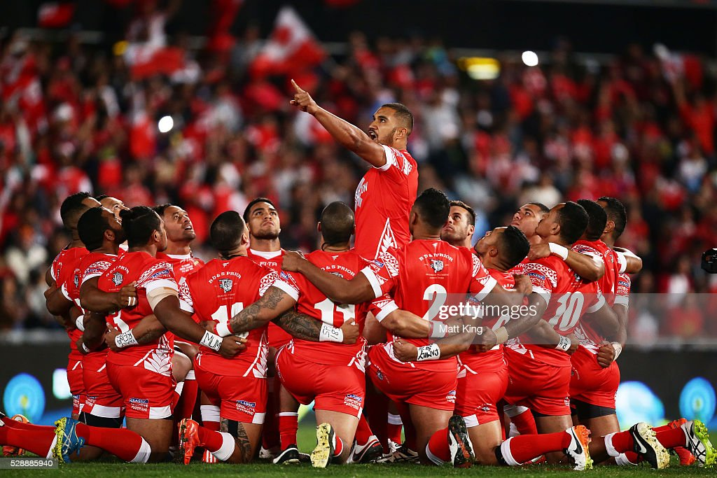 Peni Terepo of Tonga leads the Tongan war dance Sipi Tau before the International Rugby League Test match between Tonga and Samoa at Pirtek Stadium on May 7, 2016 in Sydney, Australia.