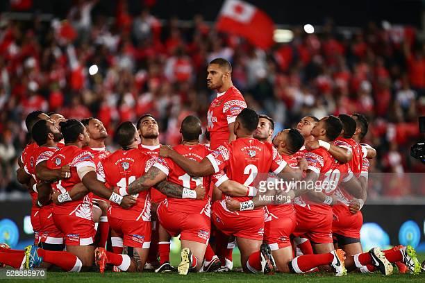 Peni Terepo of Tonga leads the Tongan war dance Sipi Tau before the International Rugby League Test match between Tonga and Samoa at Pirtek Stadium...