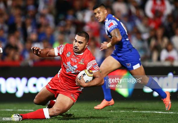 Peni Terepo of Tonga makes a break during the International Rugby League Test match between Tonga and Samoa at Pirtek Stadium on May 7 2016 in Sydney...
