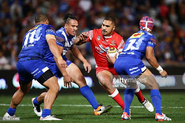 Peni Terepo of Tonga takes on the defence during the International Rugby League Test match between Tonga and Samoa at Pirtek Stadium on May 7 2016 in...