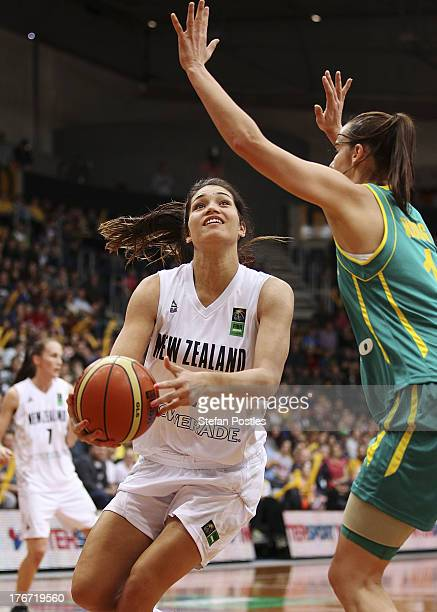 Penina Davidson of the Tall Ferns drives to the basket during the Women's FIBA Oceania Championship match between the Australian Opals and the New...
