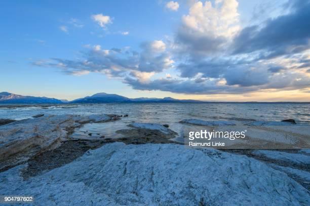 Peninsula Sirmione in the morning, Sirmione, Brescia, Lake Garda, Lago di Garda, Lombardy, Lombardei, Italy