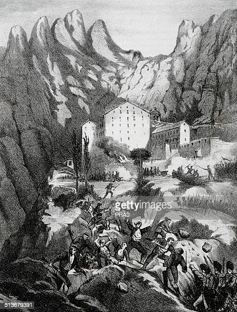 Peninsular War Conquest and plunder of the monastery of Montserrat by French troops 1811 Lithography 19th century