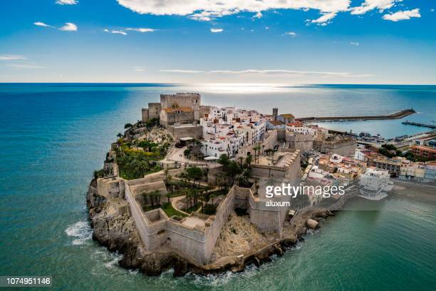 peniscola aerial view castellon spain - castellon province stock pictures, royalty-free photos & images