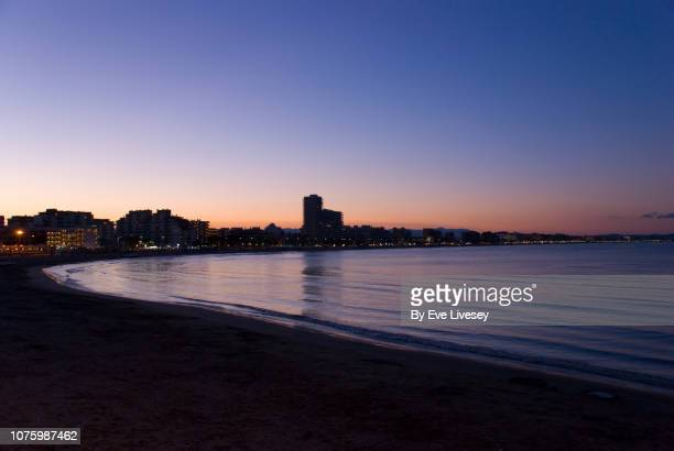 peniscola bay at night - castellon province stock pictures, royalty-free photos & images