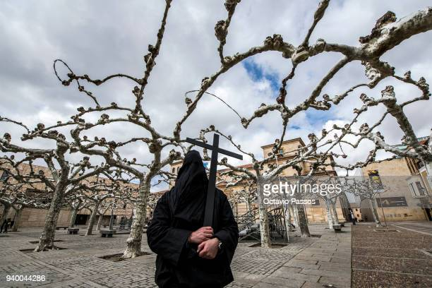 A penitent walks the streets of Zamora during Holy Week celebrations March 30 2018 in Zamora Spain The Holy Week celebrations in Zamora are steeped...