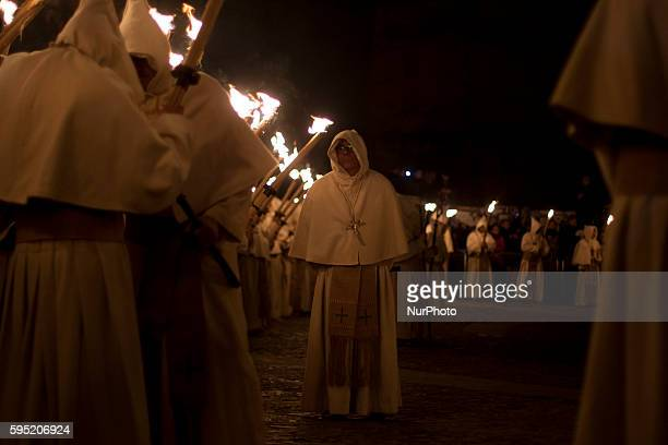 Penitents from 'Cristo de la Buena Muerte' brotherhood take part in a procession in Zamora Spain in the early morning of Tuesday March 22 2016 During...