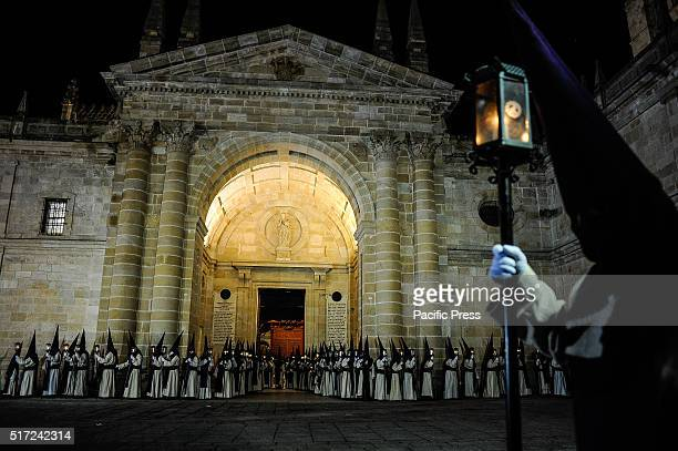Penitents from Jesus del vía Crucis brotherhood take part in a procession in Zamora during the Holy Week