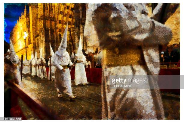penitents holy week sevilla - digital photo manipulation - penitente people stock pictures, royalty-free photos & images
