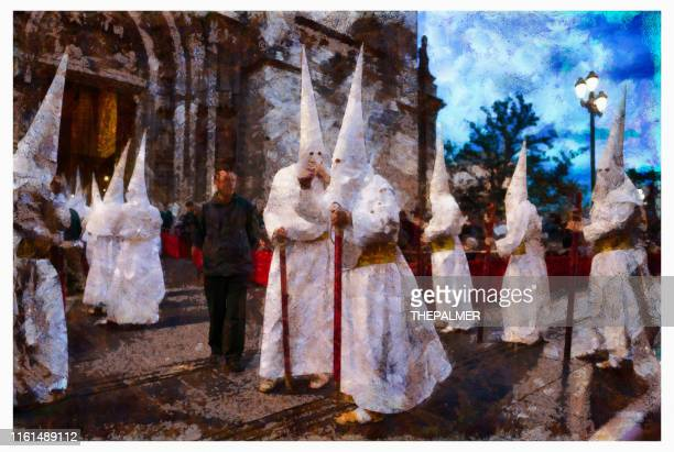penitents holy week sevilla - digital photo manipulation - easter religious stock pictures, royalty-free photos & images