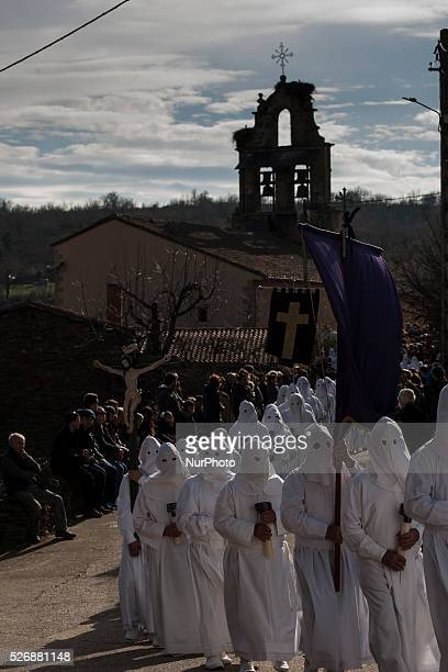 Penitents wearing shroud start the procession of the Cofradia of Santo Entierro brotherhood on March 25 2016 in Bercianos de Aliste a village around...