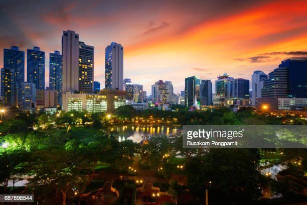 Penjasiri Park at twilight, Bangkok Thailand