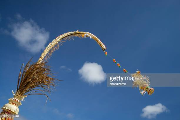 penjor assembled from various natural products, normally made from coconut leaf is offering from balinese people in indonesia. - shaifulzamri stock pictures, royalty-free photos & images