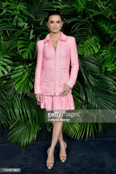 Penélope Cruz wearing CHANEL attends CHANEL and Charles Finch PreOscar Awards Dinner at Polo Lounge at The Beverly Hills Hotel on February 08 2020 in...