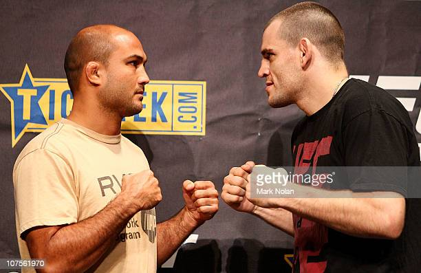 Penn and Jon Fitch face off during a UFC 127 Press Conference at Star City on December 14, 2010 in Sydney, Australia.