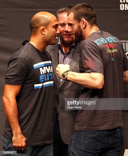 Penn and Jon Fitch of the USA pose up during a Press Conference ahead of UFC 127 at Star City on February 23, 2011 in Sydney, Australia.