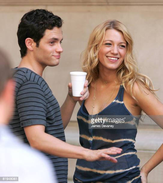 Penn Badgley and Blake Lively on location for 'Gossip Girl' on the streets of Manhattan on July 15 2008 in New York City