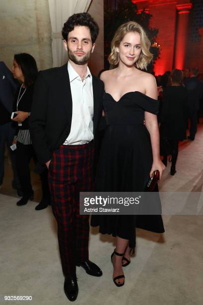 Penn Badgley and Elizabeth Lail attend the 2018 AE Upfront on March 15 2018 in New York City