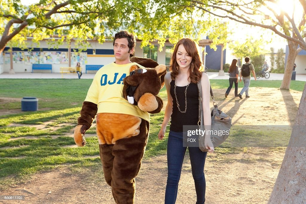 Penn Badgley (L) and Emma Stone in the FOX Presents network theatrical premiere of Easy A, airing Friday, May 20 (8:00-10:00 PM ET/PT) on FOX.