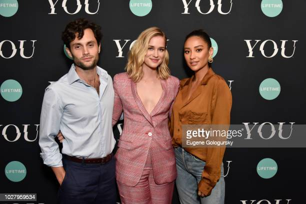 """Penn Badgley, Elizabeth Lail, and Shay Mitchell attend the Screening Of Lifetime's """"You"""" Series Premiere on September 5, 2018 in New York City."""