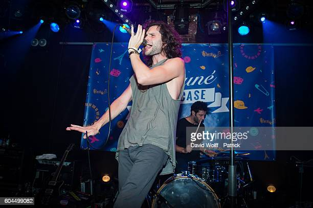 Penn Badgley from MOTHXR performs at La Maroquinerie on September 13, 2016 in Paris, France.
