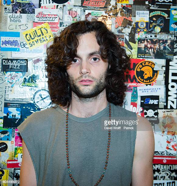 Penn Badgley from MOTHXR poses backstage at La Maroquinerie on September 13 2016 in Paris France