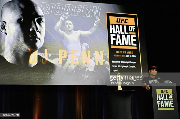 Penn gives his acceptance speech as he is inducted into the UFC Hall of Fame at the UFC Fan Expo in the Sands Expo and Convention Center on July 11,...