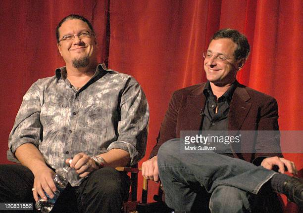 Penn Jillette and Bob Saget during Hollywood's Master Storytellers Presents The Aristocrats Screening and QA at Mann's Chinese Theatre in Hollywood...