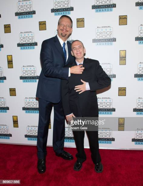 Penn Jillette and Gilbert Gottfried attend the 2nd Annual Critic's Choice Documentary Awards on November 2 2017 in New York City
