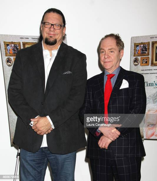 Penn Jillette and Teller attend the Tim's Vermeer special screening at Museum of Modern Art on January 28 2014 in New York City