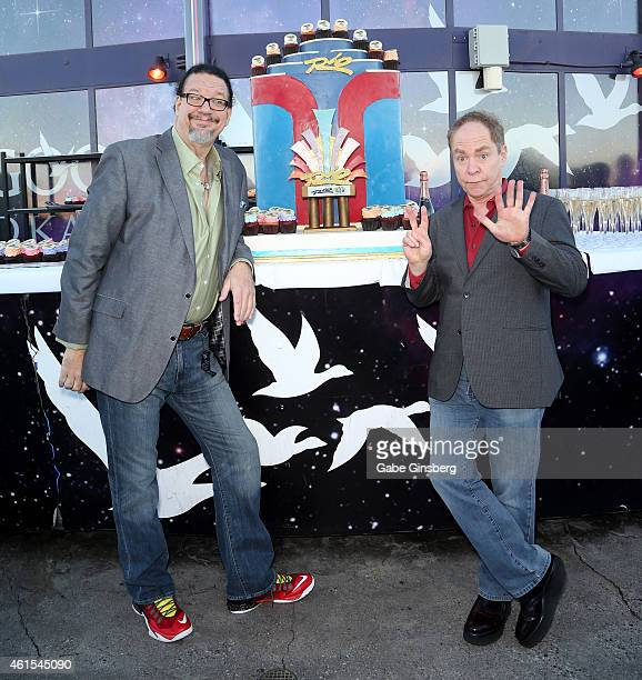 Penn Jillette and Teller of the comedy/magic team Penn Teller attend the Rio Hotel Casino's silver anniversary celebration at the Voodoo Lounge on...