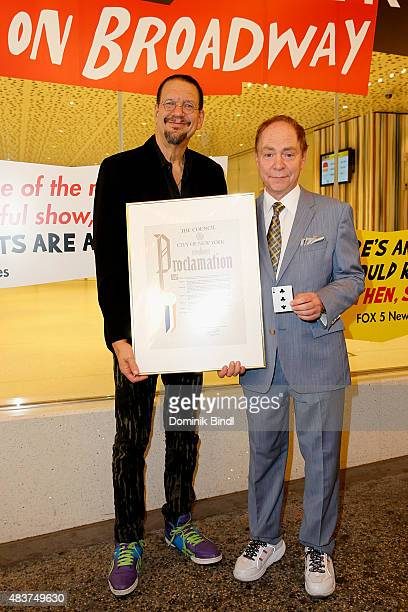 Penn Jillette and Teller presented with Proclamation from New York City Council at Marquis Theatre on August 12 2015 in New York City