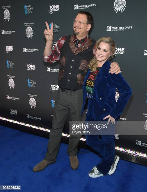 Penn Jillette of the comedy/magic team Penn Teller and Emily Zolten attend the sixth annual One Night for One Drop imagined by Cirque du Soleil a...