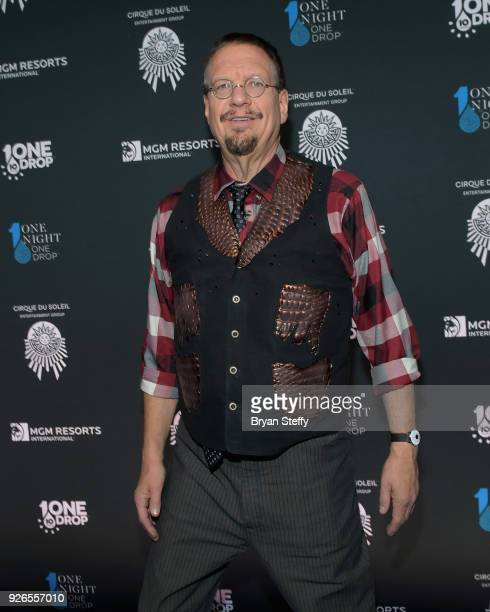 Penn Jillette of the comedy/magic team Penn Teller attends the sixth annual One Night for One Drop imagined by Cirque du Soleil a show that raises...